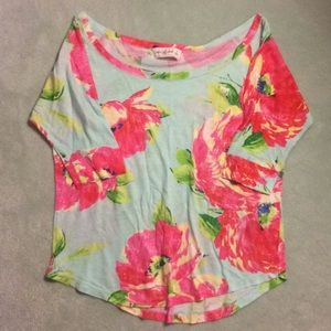 Floral Abercrombie and Fitch 1/4 Sleeve Shirt